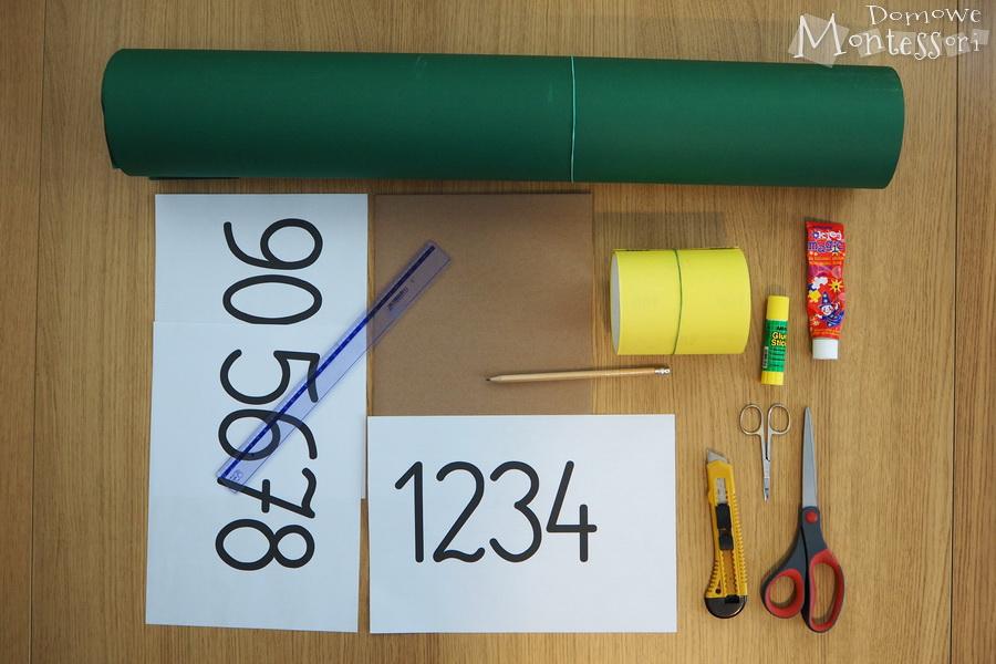Materiały potrzebne doszorstkich cyfr
