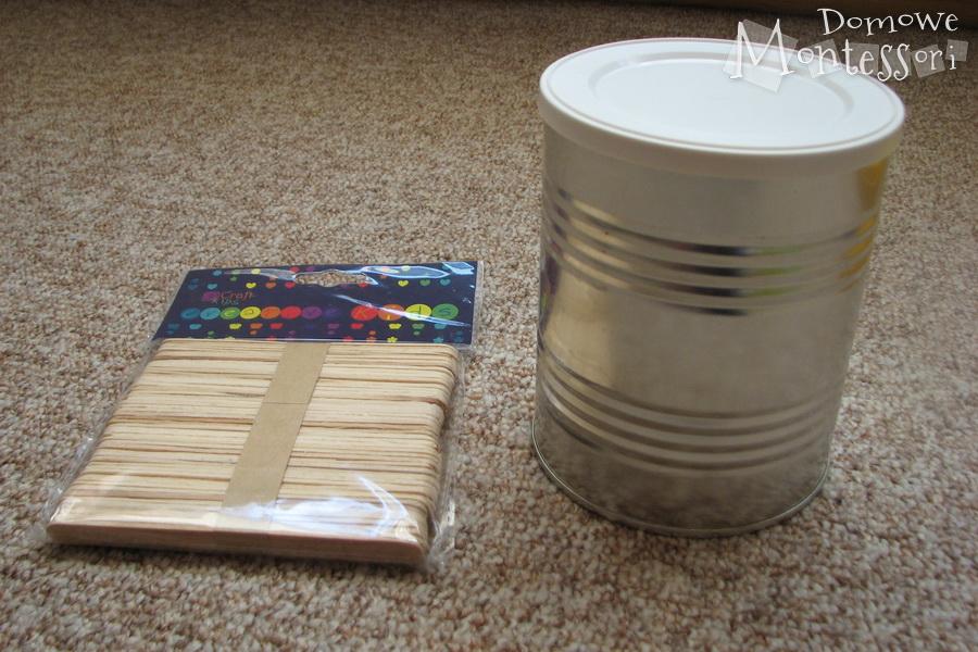 Pudełko i patyczki do lodów - potrzebne materiały