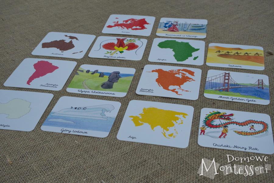 Do kart z kontynentami dokładamy karty z krajobrazmi, ludźmi, zabytkami itd.